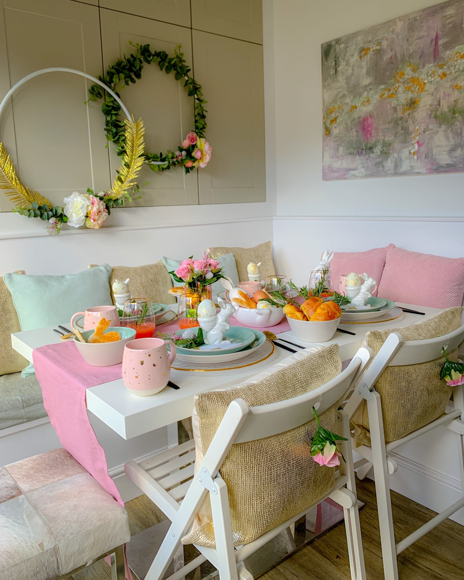 Easter breakfast table with floral hoops