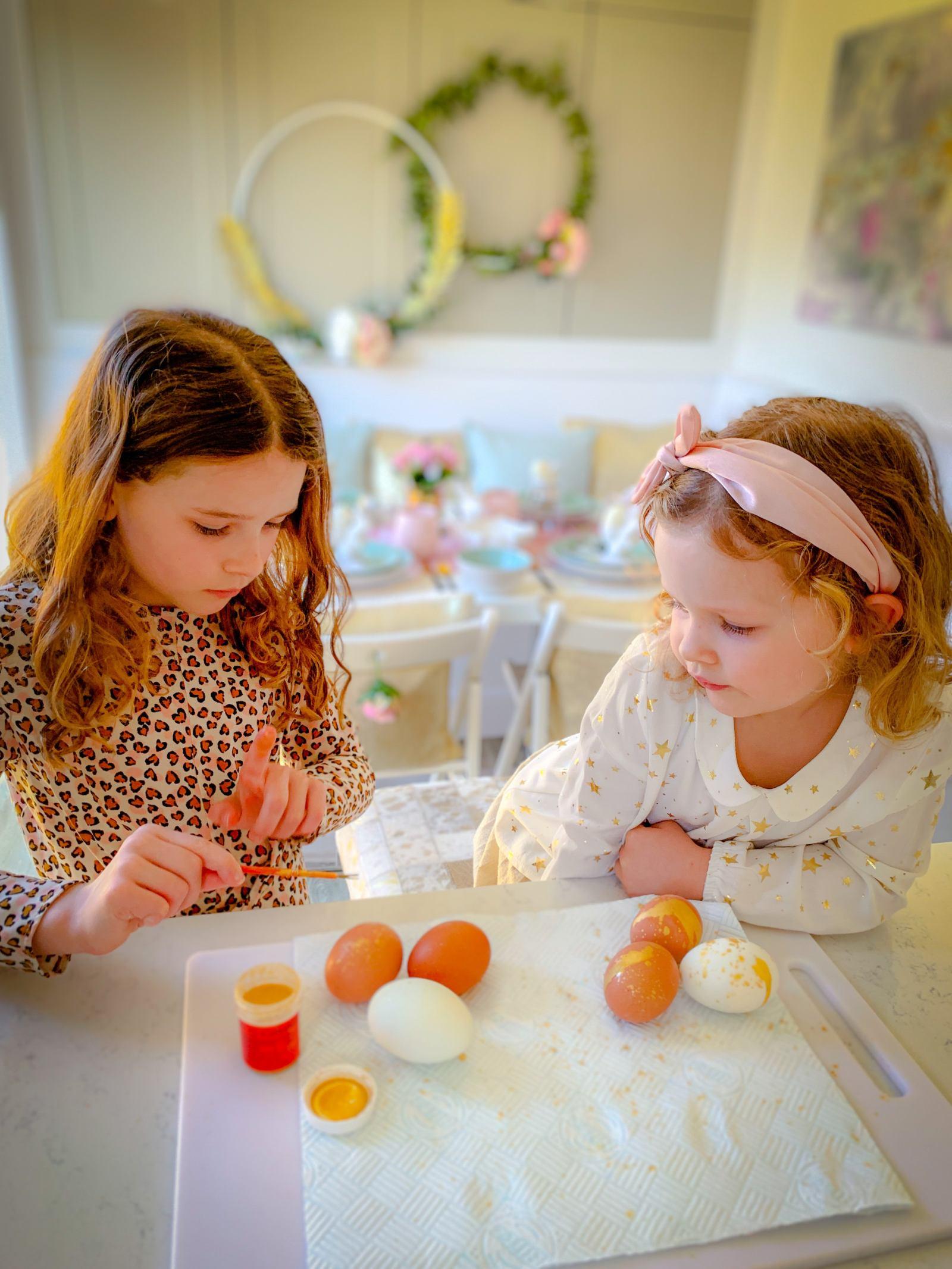 DIY gold speckled eggs