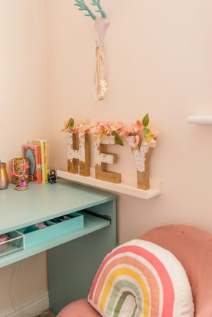 A Modern Boho Peachy Girl's Bedroom