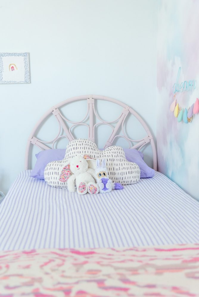 Lilac clouds and rainbows bedroom