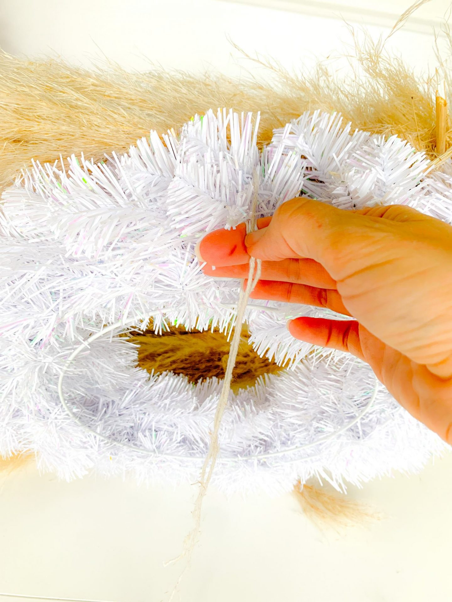 DIY pampas grass Christmas Wreath