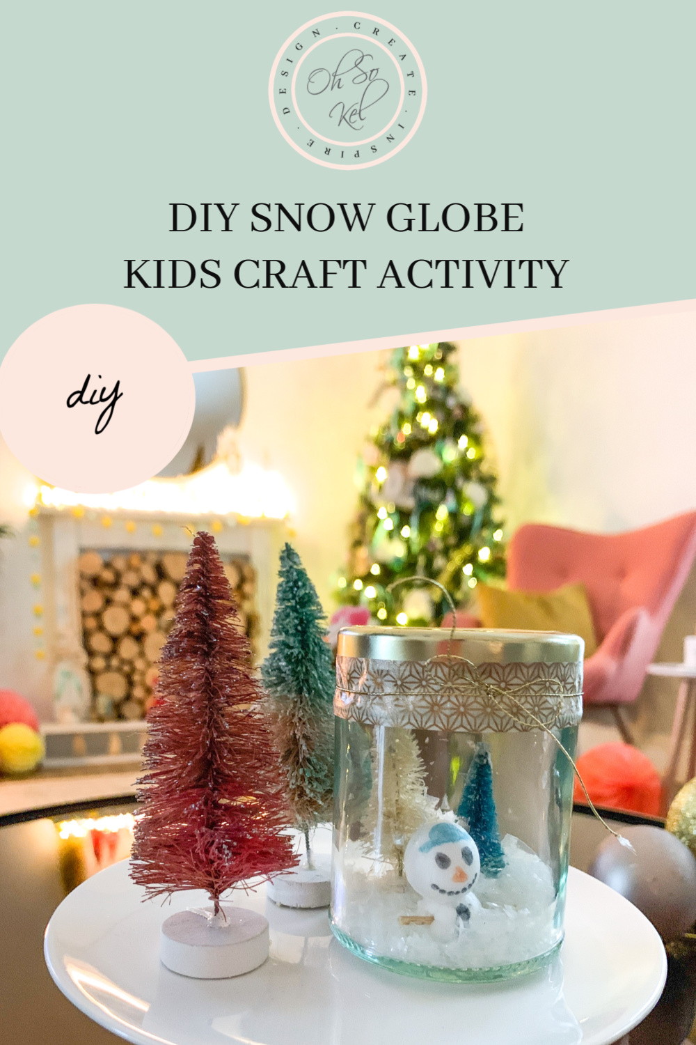 DIY snow globe kids Christmas craft activity
