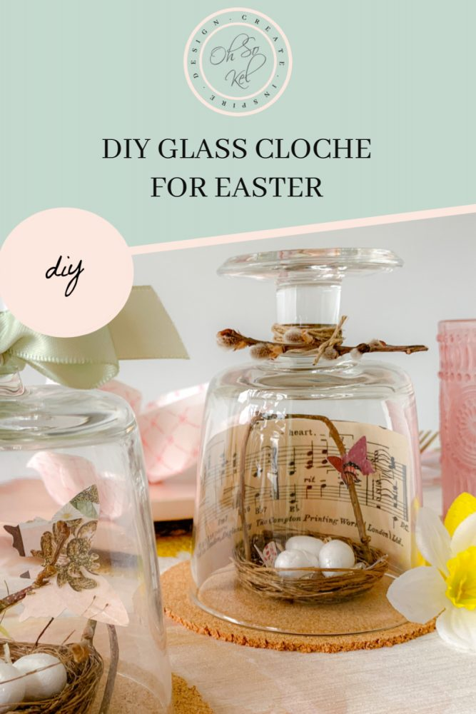 Easter glass cloche DIY