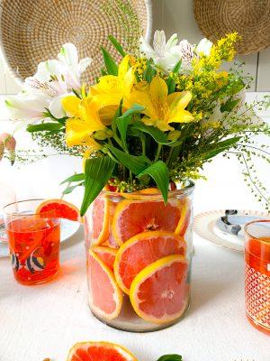 DIY Grapefruit Vase Centrepiece
