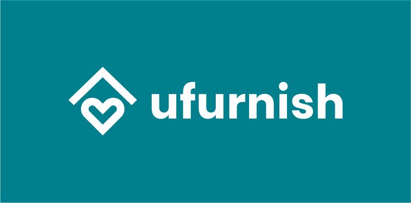 ufurnish logo-white on teal