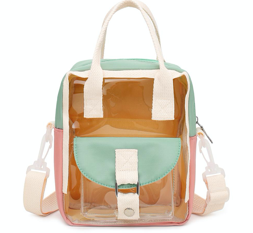 CLEAR MINT AND PINK SMALL BACKPACK