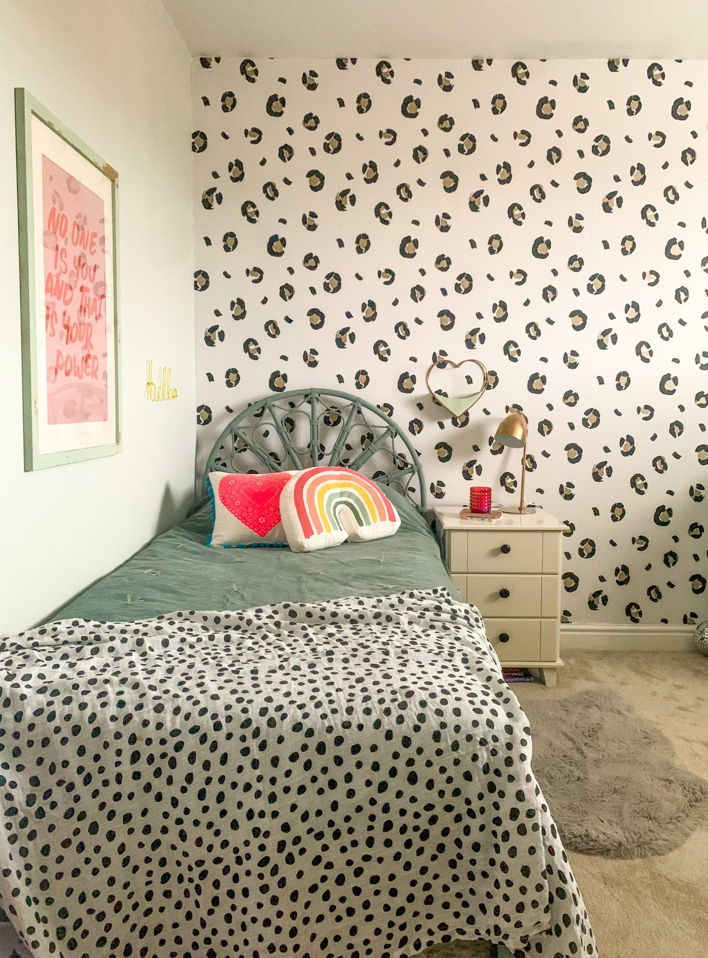 LEOPARD PRINT GIRLS BEDROOM WITH I LOVE WALLPAPER