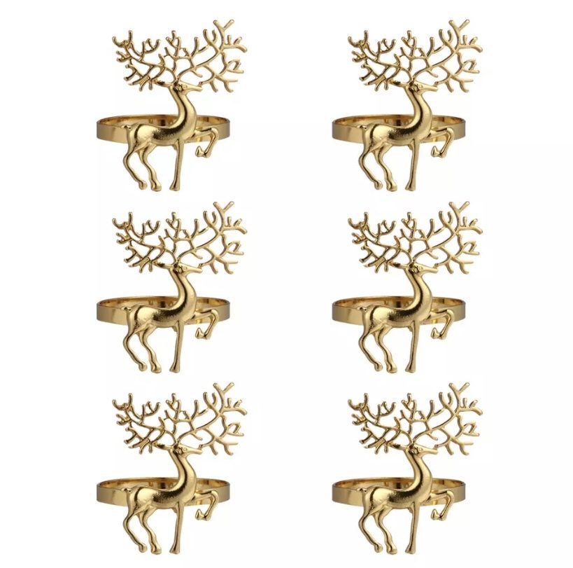 SET OF 6 CHRISTMAS REINDEER NAPKIN RINGS – GOLD