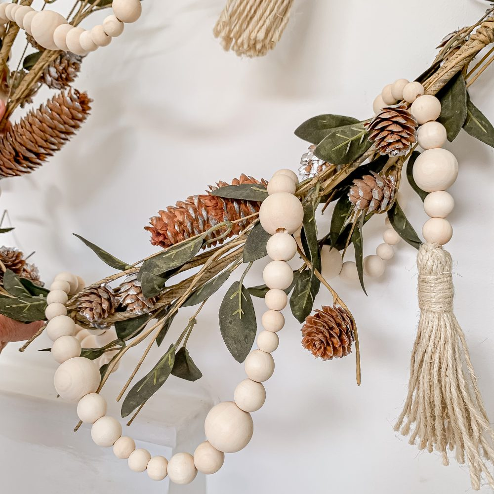 RUSTIC WOODEN BEADS GARLAND WITH TASSELS – 2.3m NATURAL