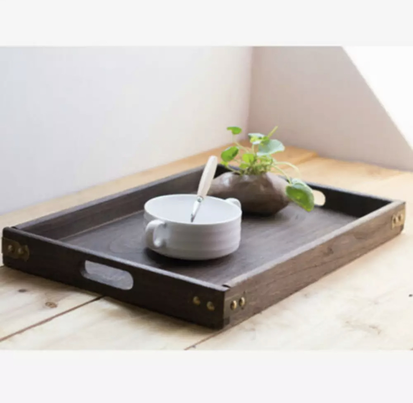OH SO KEL WOODEN STUD TRAY WITH HANDLES