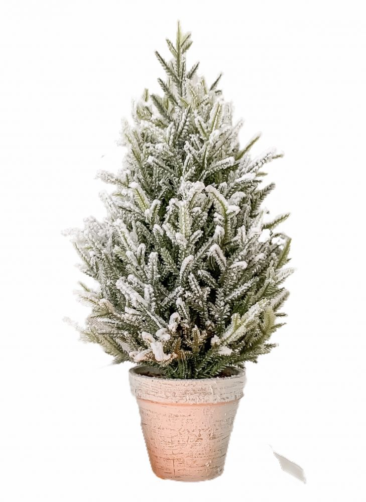 SNOW TIPPED FAUX TREE IN RUSTIC POT – 40CM