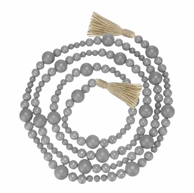RUSTIC WOODEN BEADS GARLAND WITH TASSELS – 2.3m GREY