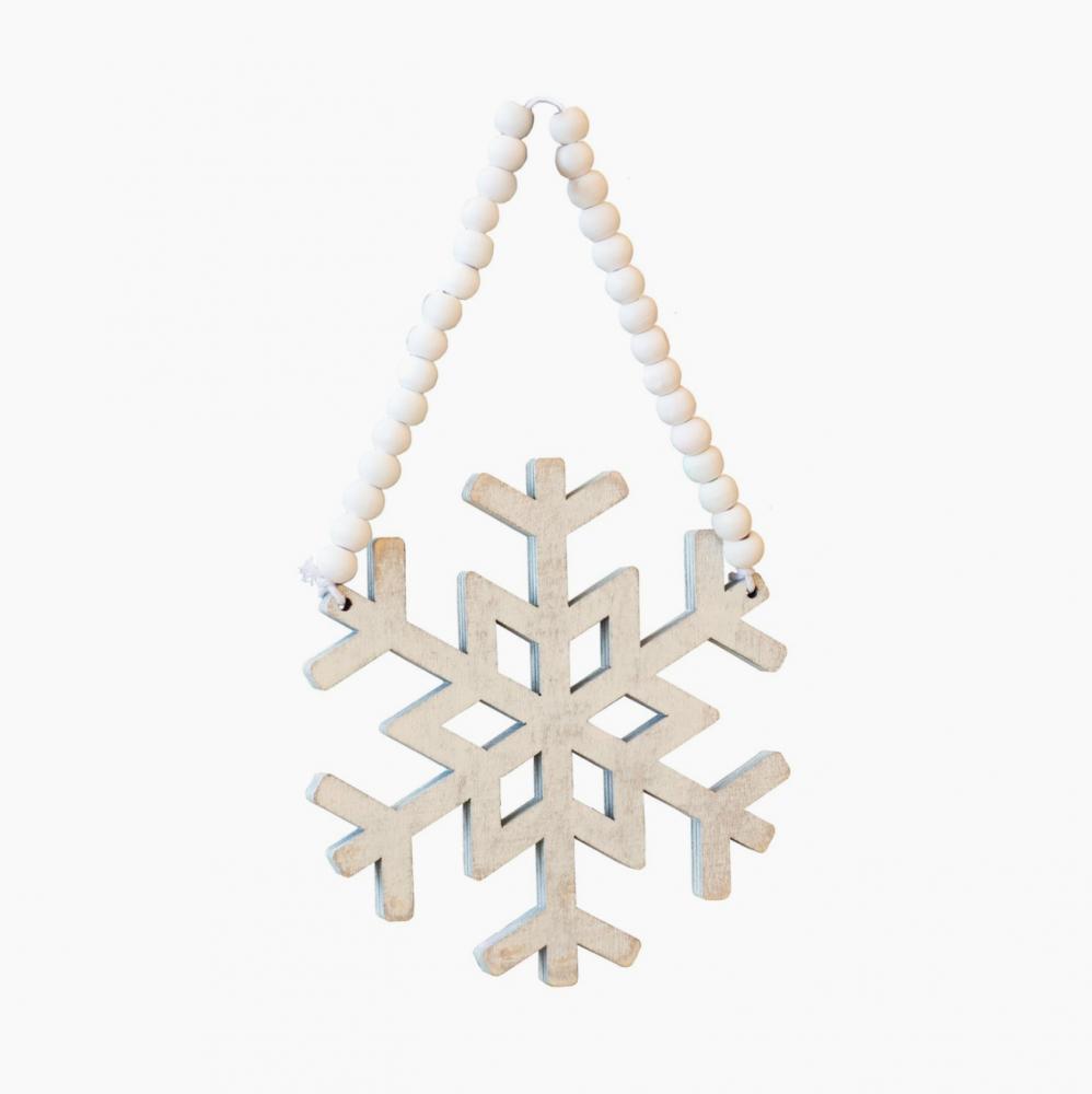 SNOWFLAKE BEADED CHRISTMAS ORNAMENTS – PAIR