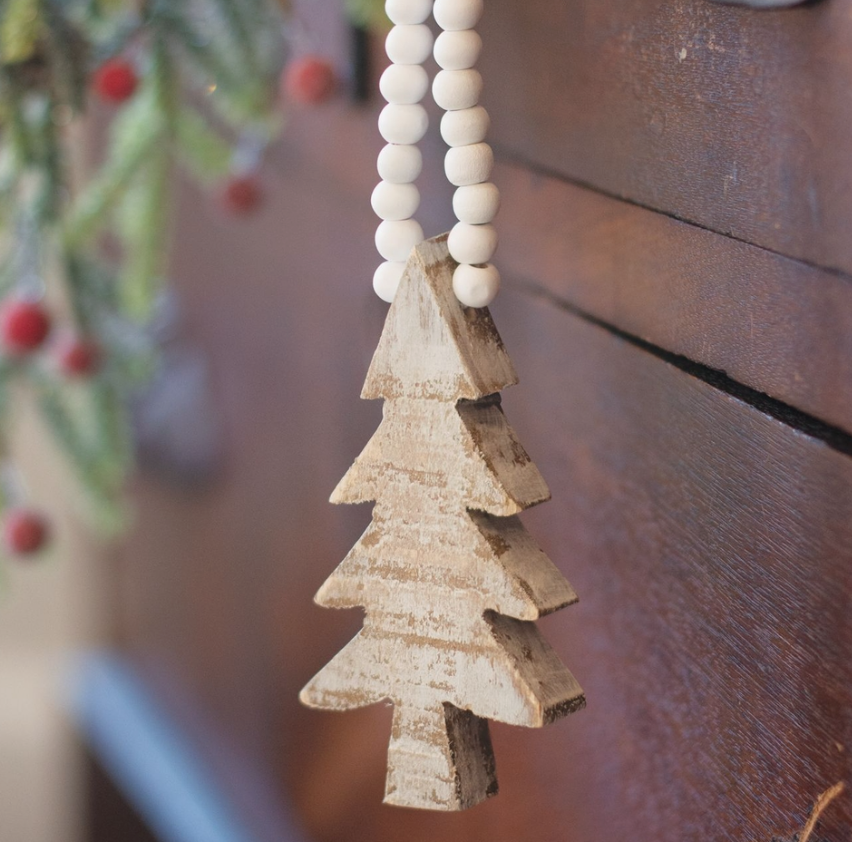 DISTRESSED WOODEN TREE BEADED CHRISTMAS ORNAMENTS – PAIR