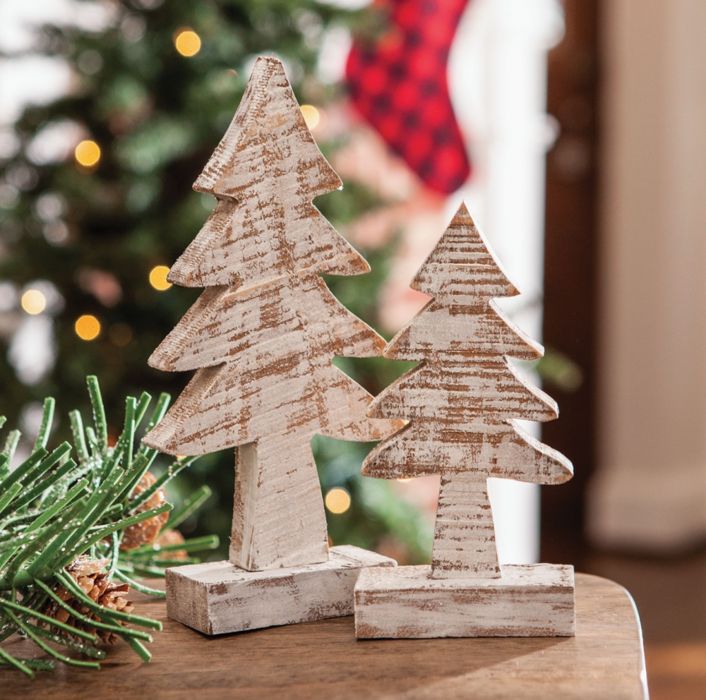 DISTRESSED WOODEN TREE CHRISTMAS ORNAMENTS – PAIR
