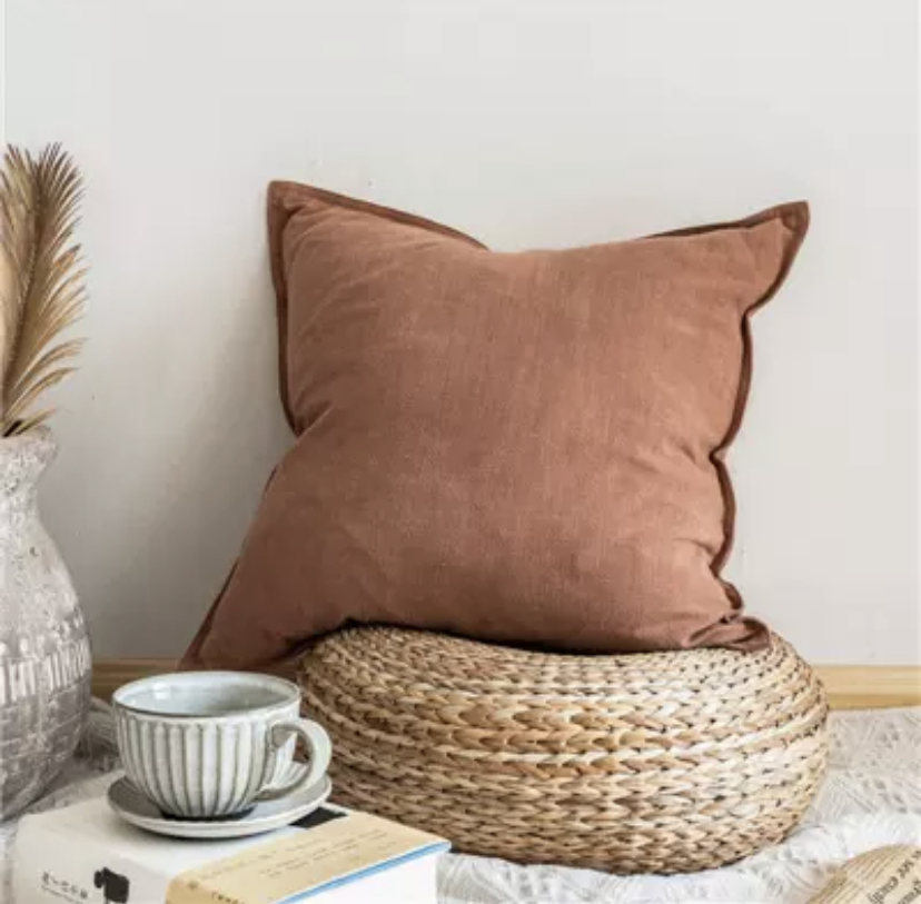 TOBACCO BROWN WASHED LINEN CUSHION COVER