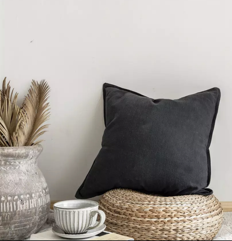 CHARCOAL BLACK WASHED LINEN CUSHION COVER